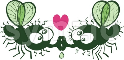 Funny flies kissing and falling in love Stock Vector