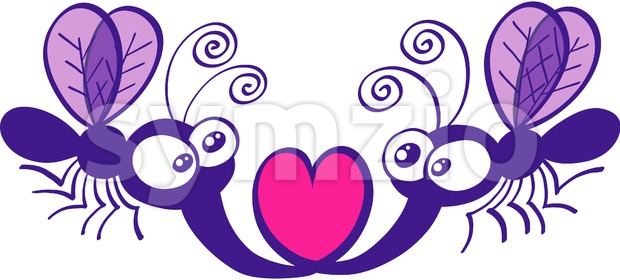 Purple mosquitoes falling in love Stock Vector