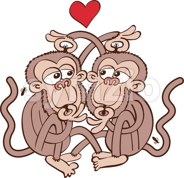 Monkeys couple looking for lice and falling in love Stock Vector