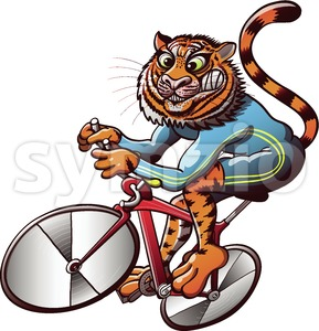 Tiger cycling in a track bike racing competition Stock Vector