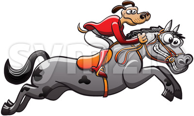 Equestrian dog for a brave jumping horse Stock Vector