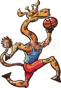Brave giraffe playing basketball Stock Vector