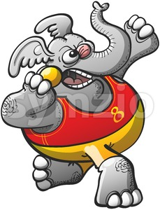 Athletic elephant performing a shot put Stock Vector