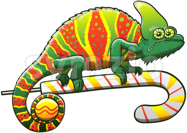 Christmas chameleon with perfect camouflage Stock Vector