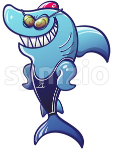 Swimmer shark getting ready for a competition Stock Vector