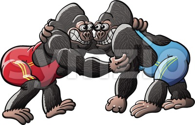Brave gorillas fighting in a wrestling combat Stock Vector