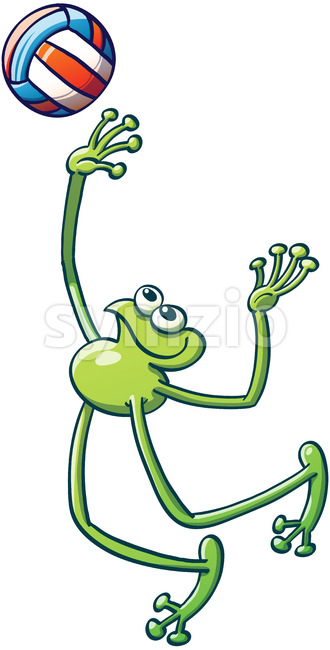 Nice green frog playing volleyball Stock Vector