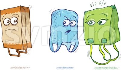 Fabric and plastic bags criticizing a paper bag Stock Vector