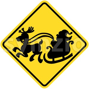 Road sign warning about Santa Claus presence Stock Vector