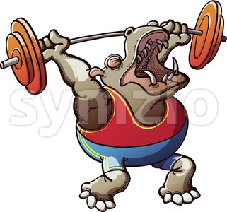 Strong hippopotamus lifting weights Stock Vector