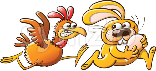Easter bunny stealing eggs from a furious hen Stock Vector