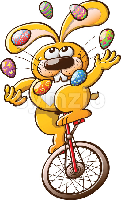 Cool yellow bunny juggling Easter eggs Stock Vector