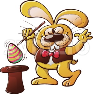 Magician bunny getting an Easter egg from a hat Stock Vector