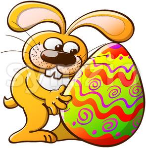 Nice bunny hugging an enormous Easter egg Stock Vector