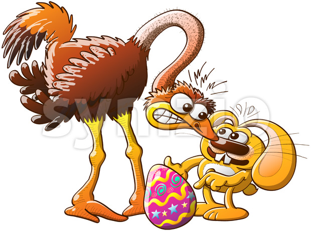 Easter bunny stealing eggs from an ostrich Stock Vector