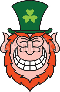 St Paddy's Day Leprechaun grinning from ear to ear Stock Vector