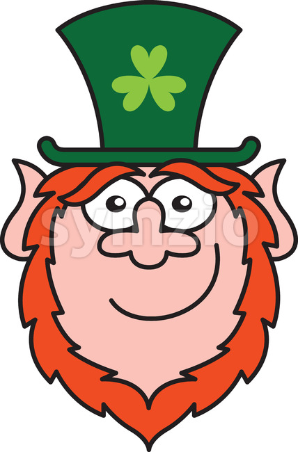 St Paddy's Day Leprechaun smiling while staring at you Stock Vector