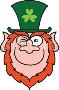 St Paddy's Day Leprechaun winking mischievously Stock Vector