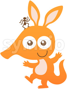 Baby aardvark smiling while carrying an ant on its head Stock Vector