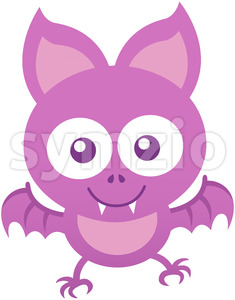 Baby bat smiling and flying while posing and staring at you Stock Vector