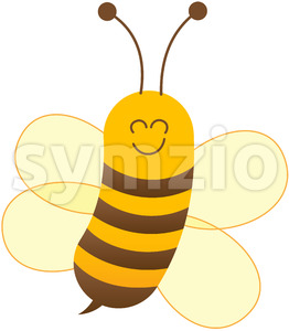 Baby bee posing and smiling while flying Stock Vector