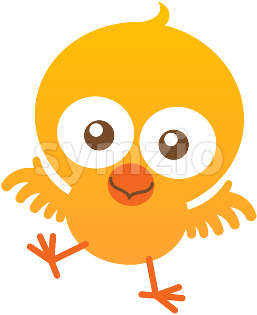 Yellow baby chicken smiling and flapping to welcome you Stock Vector