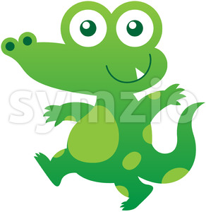 Baby crocodile smiling while walking stealthily Stock Vector