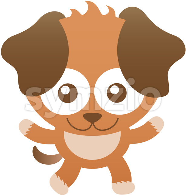 Baby dog with floppy ears while smiling and greeting Stock Vector