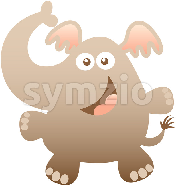 Baby elephant smiling and greeting animatedly Stock Vector