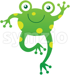 Green baby frog smiling and waving animatedly Stock Vector