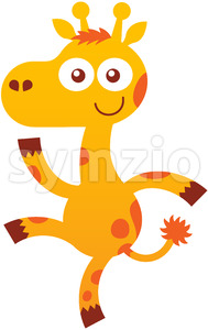 Baby giraffe smiling, dancing and waving animatedly Stock Vector