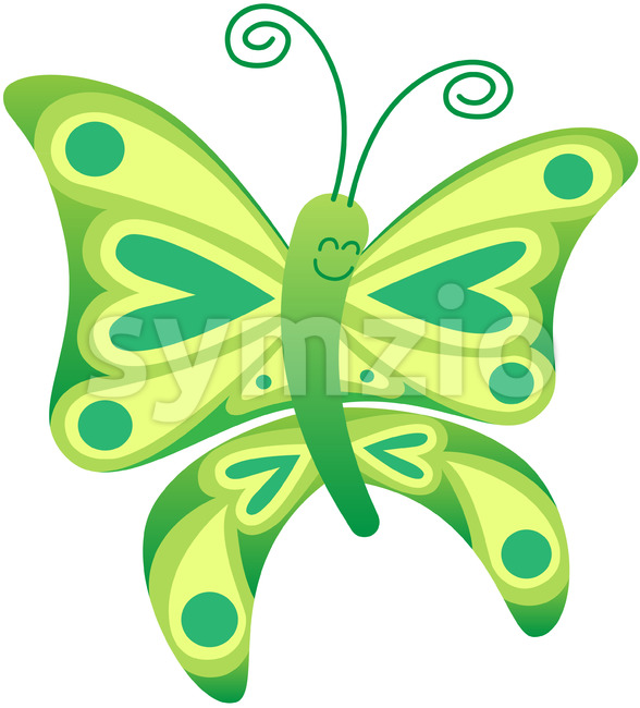 Little butterfly grinning while showing green and yellow colors Stock Vector