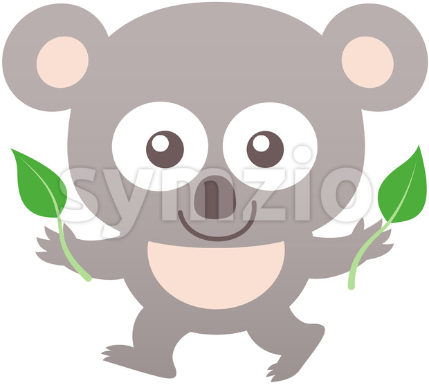 Baby koala smiling while holding eucalyptus leaves Stock Vector