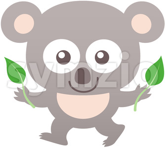 Baby koala smiling while holding bamboo leaves Stock Vector