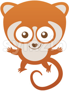 Mischievous baby lemur greeting and welcoming Stock Vector
