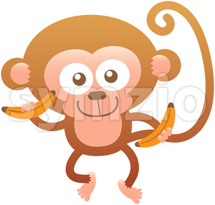 Baby monkey feeling proud of having bananas for lunch Stock Vector
