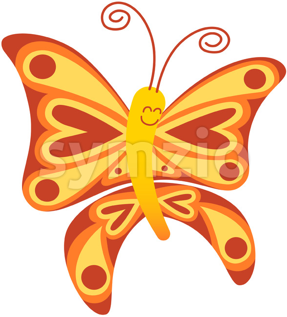Baby butterfly smiling while exhibiting red and yellow colors Stock Vector