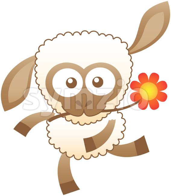 Baby sheep dancing while holding a flower in its mouth Stock Vector