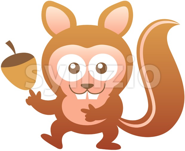 Baby squirrel smiling and balancing an oak nut Stock Vector
