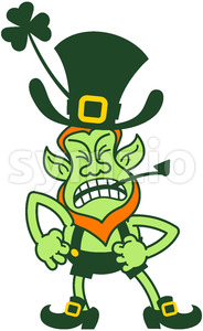 Saint Patrick's Day Leprechaun feeling furious Stock Vector