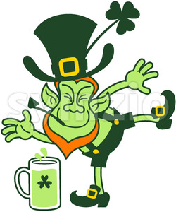Leprechaun having fun by throwing mugs of beer Stock Vector