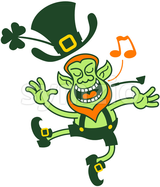 Saint Patrick's Day Leprechaun singing animatedly Stock Vector