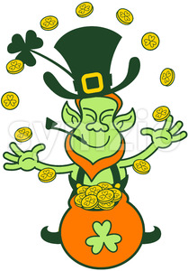 Saint Patrick's Day Leprechaun juggling gold coins Stock Vector
