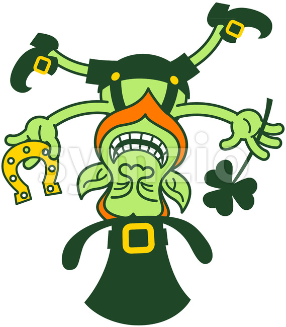 Crazy Leprechaun standing on his head while holding a clover and a horseshoe Stock Vector