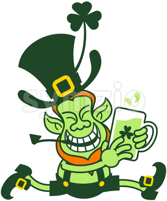 Leprechaun running away with a mug of beer Stock Vector