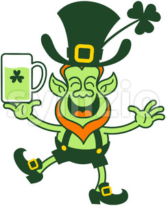 Smiling Saint Patrick's Day Leprechaun juggling beer Stock Vector