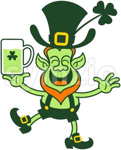 Smiling Saint Patrick's Day Leprechaun juggling beer Stock Vector