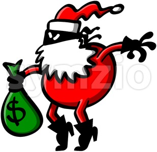 Masked thief disguised as Santa Claus Stock Vector