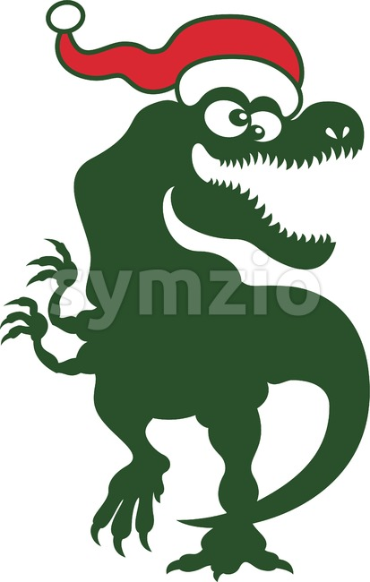 Christmas Tyrannosaurus Rex dancing Stock Vector