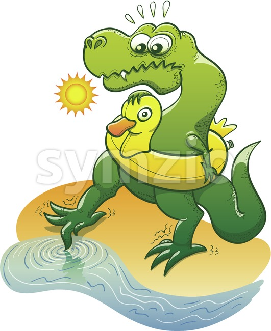 Timorous Tyrannosaurus Rex dipping toe into water Stock Vector
